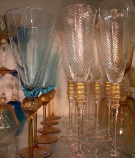 Flutes acquamare e cristallo oro