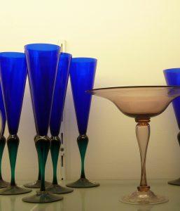 Flutes blu verde caraffa